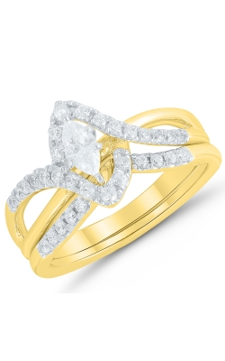 Two Hearts Marquise Diamond Bridal Set In 14K Yellow Gold, 1/2ctw product image