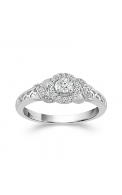 Two Hearts Diamond Halo Promise Ring In White Gold, 1/8ctw product image