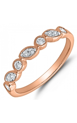 Two Hearts Antique-Style Rose Gold Diamond Band, 1/10ctw product image