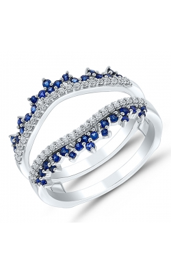 Two Hearts Diamond And Sapphire Solitaire Enhancer In 14K White Gold, 1/4ctw product image