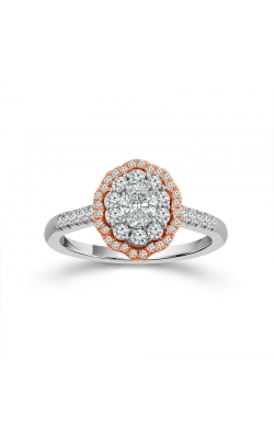 Two Hearts Oval Diamond Double Scallop Frame Engagement Ring In Two-Tone Gold, 3/4ctw product image
