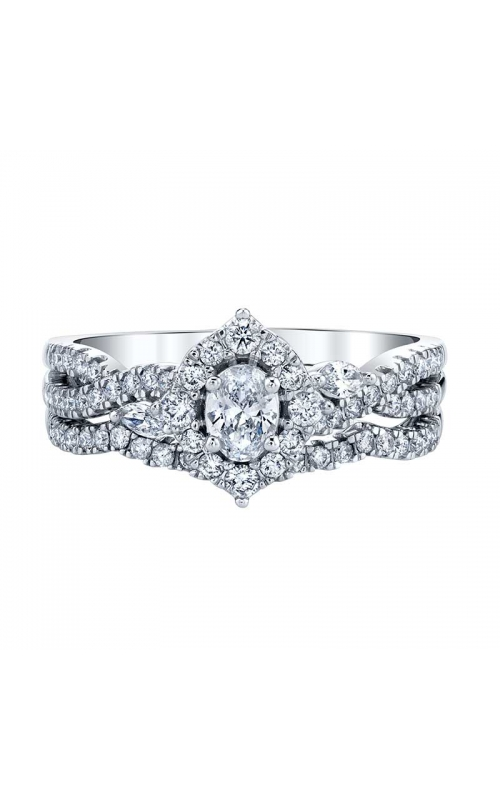 Two Hearts Oval Halo Diamond Bridal Set in White Gold, 3/4ctw product image