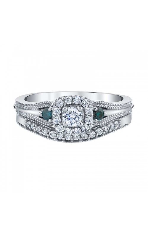 Two Hearts Enhanced Blue and White Diamond Bridal Set in White Gold, 1/2ctw product image