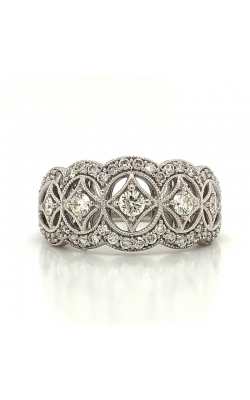 Two Hearts Vintage-Style Diamond Fashion Ring In 14K White Gold, 5/8ctw product image