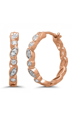 Two Hearts Antique-Style Rose Gold Diamond Hoop Earrings, 1/5ctw product image