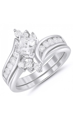 Two Hearts Princess-Cut and Round Diamond Bridal Set in 14K White Gold, 1ctw product image