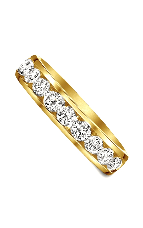 Two Hearts Channel Set Round Diamond Wedding Band in 14K Yellow Gold, 1/4ctw product image
