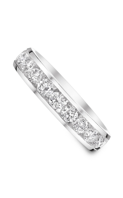 Two Hearts Channel Set Round Diamond Wedding Band In 14K White Gold, 1/4ctw product image