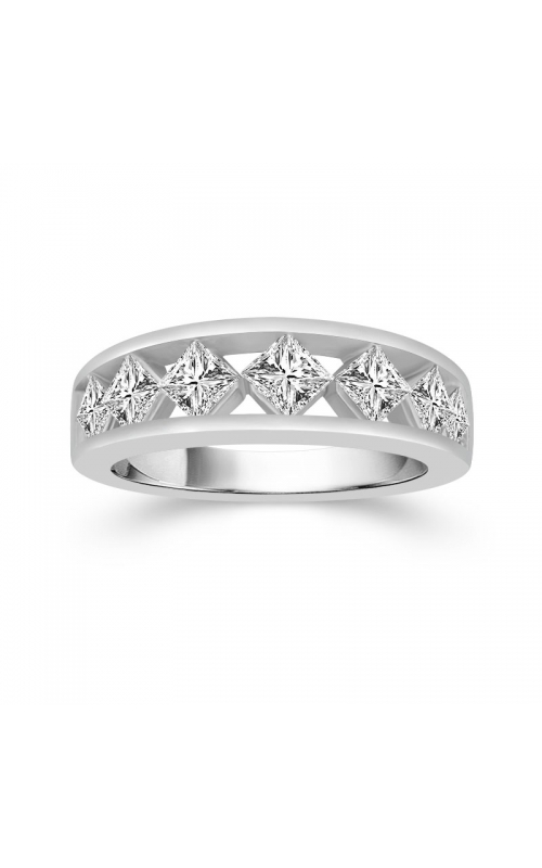 Two Hearts On Point Princess-Cut Diamond Wedding Band in 14K White Gold, 1ctw product image