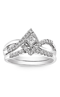 Two Hearts Princess-Cut Diamond Bridal Set In 14K White Gold, 1ctw product image