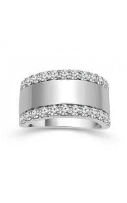Two Hearts Polished Center Diamond Anniversary Band In 14K White Gold, 1ctw product image