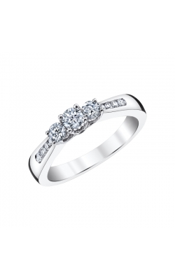 Two Hearts Three Stone Diamond Engagement Ring in White Gold, 1/2ctw product image
